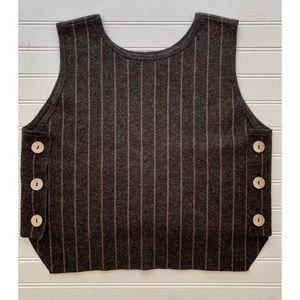 Anthropologie Angora Side Button Knit Vest Top